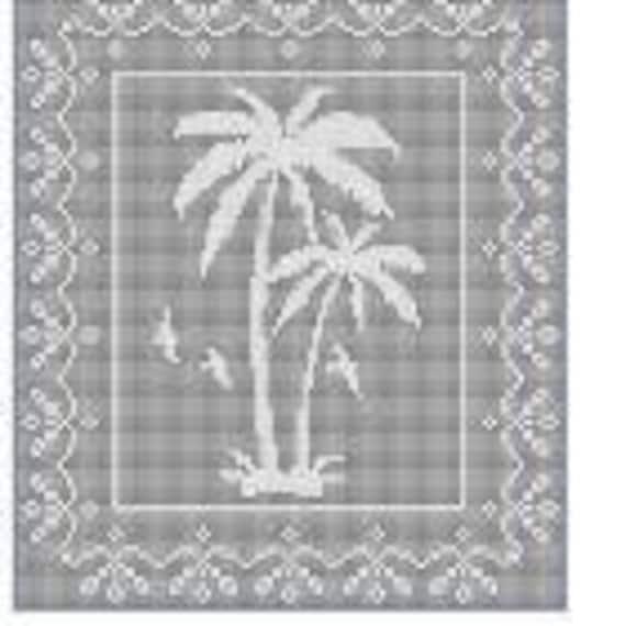 Palme Baum Szene Filet häkeln Deckchen afghanischen Muster | Etsy