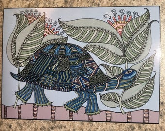 Tropical Turtle - ACEO Print Of OOAK Original Colored Ink Drawing - Turtle - Foliage - Flowers - Leaves - ATC - Artist Trading Card