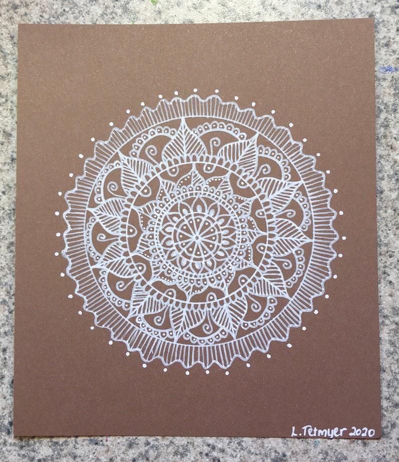 Simple White Mandala Hand Drawn Illustration Mini Art 5 X 5.75 Inches
