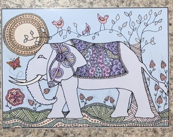 A Little Birdie Told Me - ACEO Print Of OOAK Original Colored Ink Drawing - Birds Elephant Butterflies Flowers - ATC - Artist Trading Card