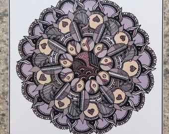 Mandala 2 - ACEO Print Of OOAK Original Colored Ink Drawing - Mandalas - Illustration- ATC - Artist Trading Card