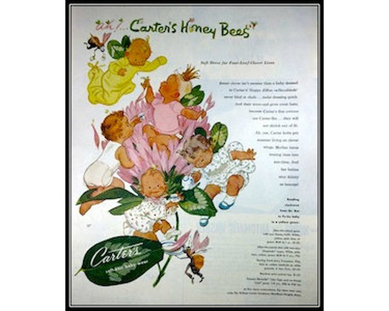 d46bf2bda 1950s Vintage Advertising Honey Bees Carter's Baby Clothes   Etsy