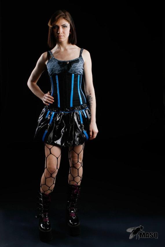Black corset corset pvc cosplay corset festival with PVC cyberpunk rave corset corset dieselpunk clubbing details corset blue corset Orv1O