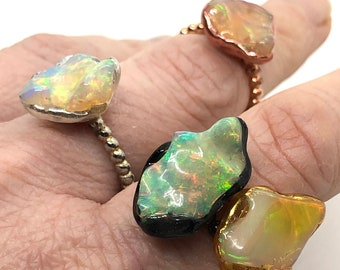 Boho Chic Opal Jewelry Birth Stone Dara Ettinger Boulder Opal Circle Ring Raw Stone One of a Kind Natural Opal Ring Boulder Opals