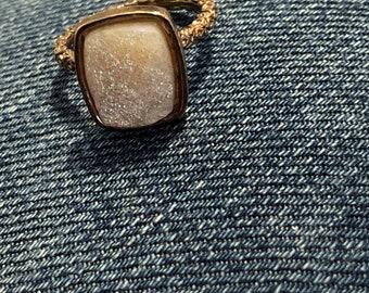 Outlet SALE Dara Ettinger NADIA Druzy Ring in Antique Rose Gold/Halo sz 8