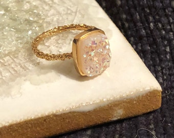Outlet Sale Extra Special Rocky Dara Ettinger NADIA Druzy Ring in 14kt Gold/Halo Druzy Rectangle sz 5