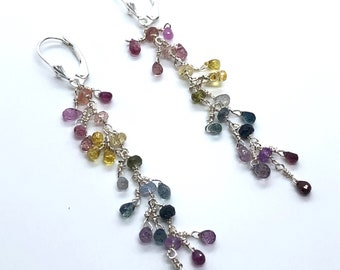 50% off Dainty Sapphire Rainbow Earrings, Rainbow Sapphire Cascade Earrings, Silver Sapphire Earrings, Christmas Gift, Holiday Gifts for Her