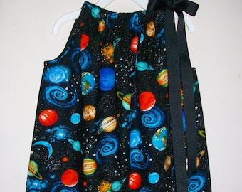 Space Dress | Pillowcase Dress | Solar System | Galaxy Dress | Dress with Planets | Outer Space Dress | Science Dress | Science Fair Dress