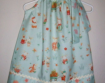 Pillowcase Dress with Bunnies and Carrots Bunny Dress Spring Dresses Girls Dress with Rabbits Gardening Summer Dress Baby Shower Gift