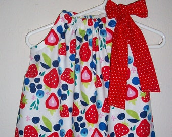 12m Pillowcase Dress with Strawberries Baby Dress Strawberry Dress with Blueberries Berry Festival Summer Dress with Berries Ready to Ship