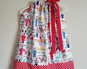 Its a Small World Pillowcase Dress with Children Around the Globe Kids Around the World Girls Dresses Kids Clothes International Hello World