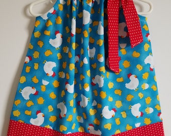 Pillowcase Dress with Chickens Farm Dress with Roosters Farm Animals Dress Farm Birthday Party Spring Dresses Girls Dress with Baby Chicks