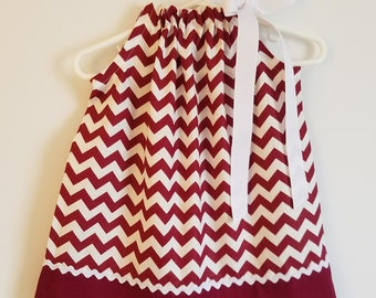 Texas A M Pillowcase Dress Maroon and White Chevron Dress Game Day Dress  Aggies Dress College Football TAMU Girls Dresses Sports Teams 8a3f1bc22