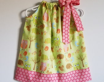 Pillowcase Dress with Owls Forest Animals Dress Girls Dress with Hedgehogs Woodland Animals Riley Blake Summer Dresses Toddler Dresses