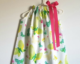 Pillowcase Dress with Butterflies Girls Dresses Summer Dresses Spring Dresses Toddler dresses Baby dresses Butterfly Dresses with Roses