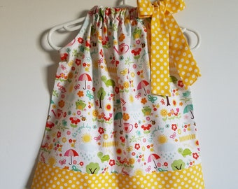 Pillowcase Dress with Flowers & Sunshine Yellow Girls Dresses Spring Dresses Summer Dresses with Birds Frogs Bees Riley Blake April Showers