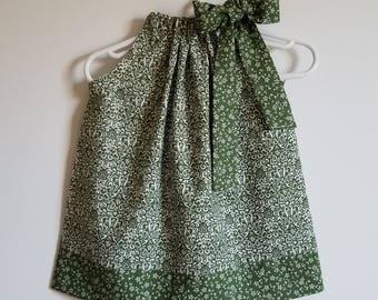 Pillowcase Dress Girls Dress with Damask Dress Summer Dresses Hunter Green Dress Floral Dress Dark Green Dress Baby Dresses Toddler Dresses