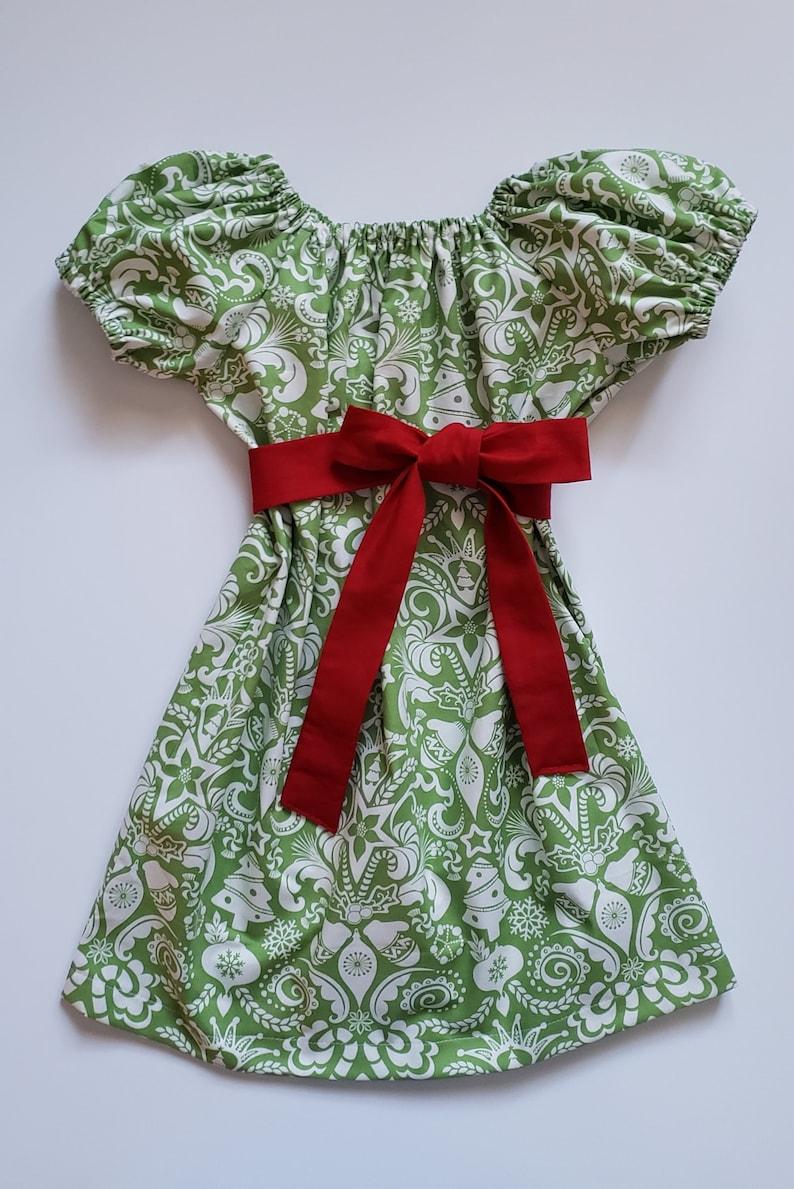 Size 3t Christmas Dress  Toddler Girl Dress  Peasant Dress image 0