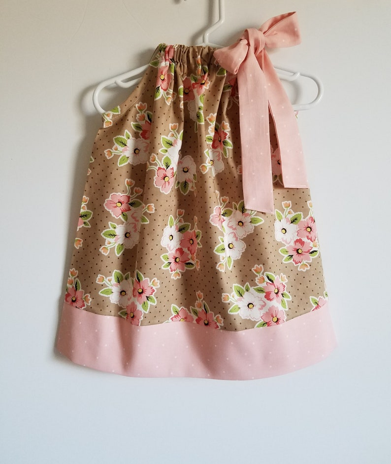 Pillowcase Dress with Flowers  Girls Dresses  Taupe and image 0
