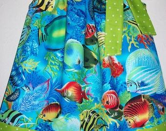 Pillowcase Dress with Fish Summer Dresses Michael Miller Tropical Dresses Under the Sea Party Aquarium Dress Girls Dresses Beach Dresses