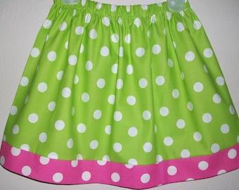 Girls Skirts, Polka Dot Skirt, Summer skirts, Lime and Hot Pink, Birthday Skirt, baby skirts, toddler skirts, Elastic Waist Skirt with Dots