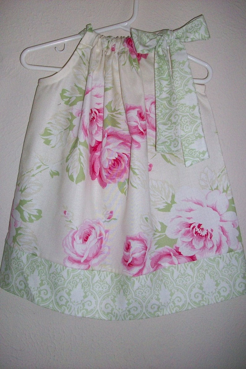 Pillowcase Dress  Toddler Girl Dress with Roses  Floral image 0