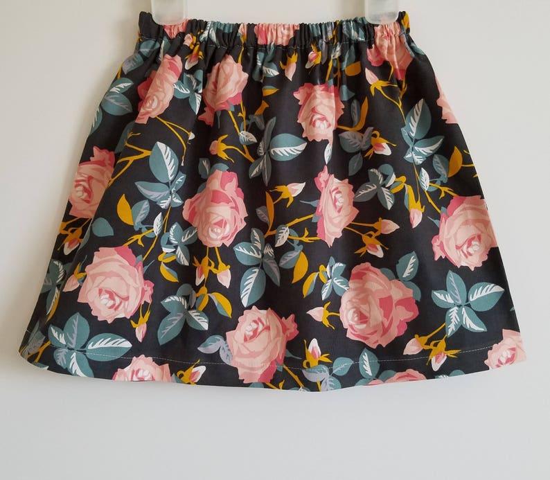 Girls Skirt  Corduroy Skirt  Floral Skirt  Fall Skirt  image 0