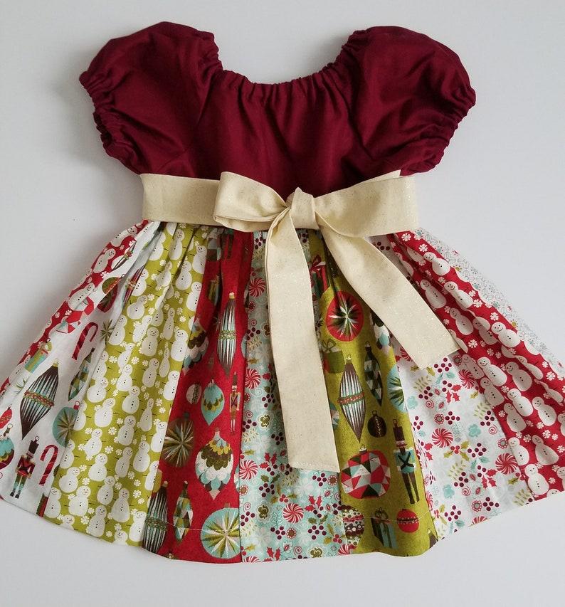 Christmas Dress  Short Sleeve Dress with Sash  Holiday Dress image 0