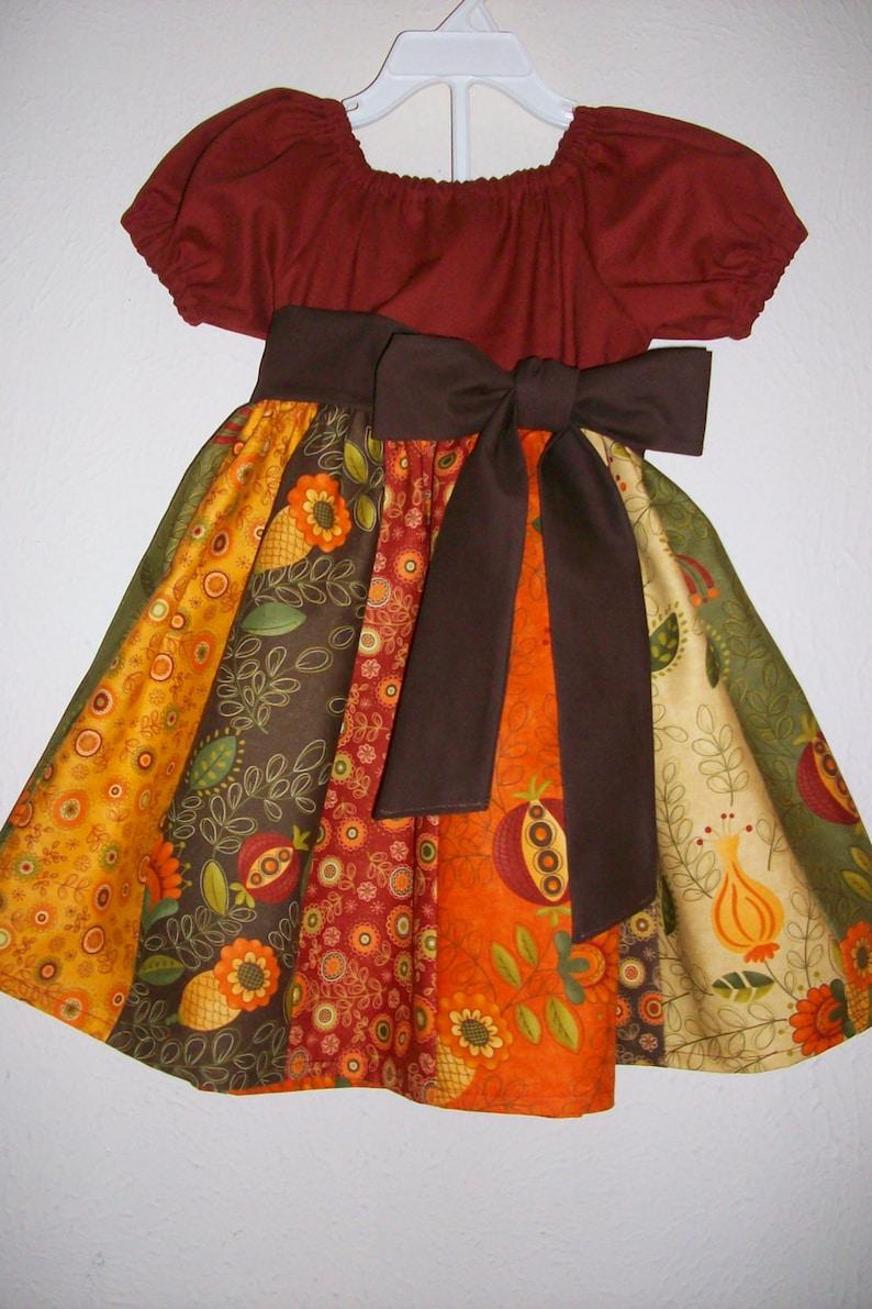 Girls Fall Dress  Thanksgiving Dress For Girl  Peasant Dress image 0