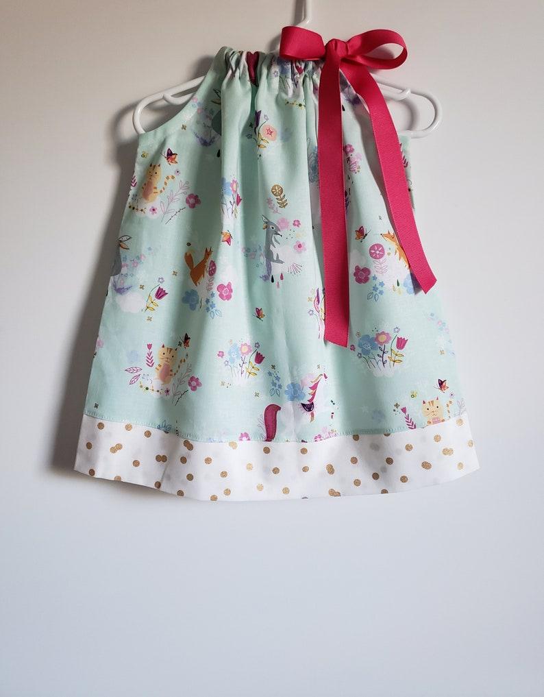 Pillowcase Dress  Dress with Unicorns  Girls Dress  Toddler image 0