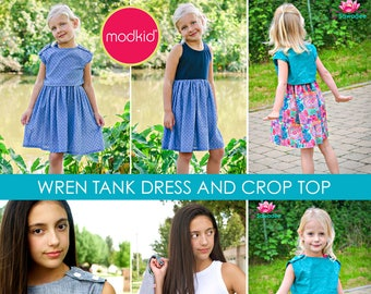 Wren Tank Dress and Crop Top PDF Downloadable Pattern by MODKID... sizes 2T to 12 Girls included - Instant Download