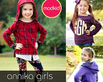 Annika Girls Lapneck Sweater PDF Downloadable Pattern by MODKID... sizes 2T to 8/9 Girls included - Instant Download