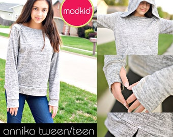 Annika Tween/Teen Lapneck Sweater PDF Downloadable Pattern by MODKID... sizes 10 to 18 Juniors included - Instant Download