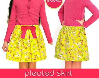 Pleated Skirt PDF Downloadable LITE Pattern Tutorial by MODKID... for girls, teens and women - Instant Download