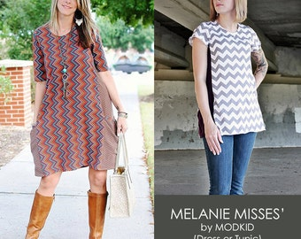 Melanie Misses' Dress or Tunic PDF Downloadable Pattern by Modkid... sizes XS-XXL Women included - Instant Download