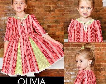 Olivia Portrait robe PDF téléchargeable de mires par MODKID... tailles 2 t à 10 filles inclus - téléchargement immédiat