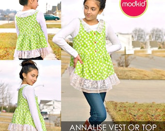 Annalise Low-High Vest and Top Tunic PDF Downloadable Pattern by MODKID... sizes 2T to 12 Girls included - Instant Download