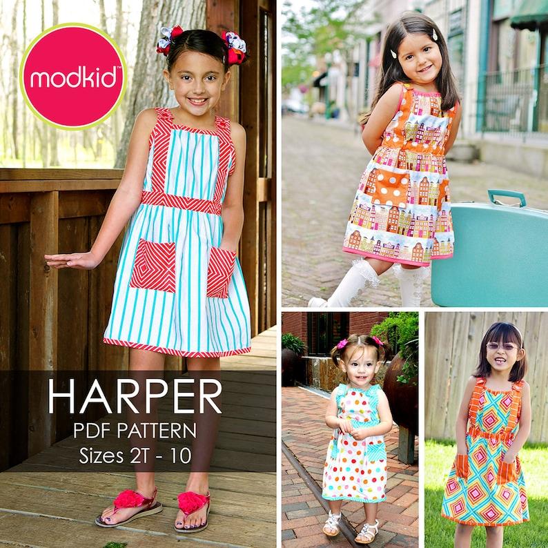 Harper Dress PDF Downloadable Pattern by MODKID... sizes 2T to image 1