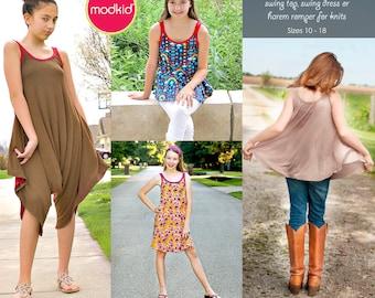 Leilani Tween Teen Swing Top, Swing Dress, Harem Romper PDF Downloadable Pattern by MODKID... sizes 10 to 18 included - Instant Download