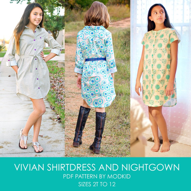 Vivian Shirtdress and Nightgown PDF Downloadable Pattern by image 0