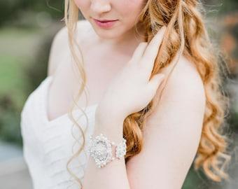 Pearl Bridal Cuff Bracelet | Pearl Bracelet | Wedding Cuff | Bridal Bracelet | Lace Bridal Jewelry | Wedding Bracelet | Cream Lace