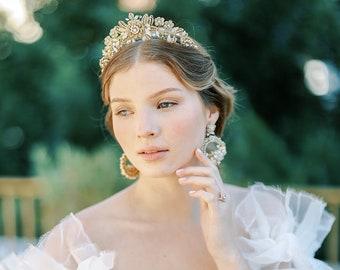 Gold Floral Wedding Tiara | Bridgerton-Inspired Bridal Crown | Lace Wedding Headpiece | Something Blue Bridal Hair Accessory | HYACINTHE
