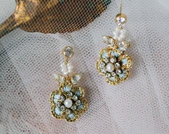 Small Wedding Stud Earrings | Gold, Pearl Bridal Drop Earrings | Something Blue | Floral Vintage-Inspired Earrings for the Bride | HYACINTHE