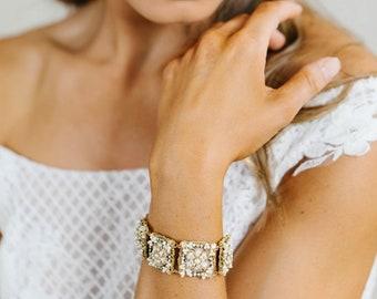 Pearl, Lace, Crystal Wedding Cuff Bracelet | Wide Floral Bridal Bracelet | Romantic, Vintage Style Bracelet for Bride | JARDIN
