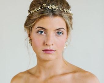 Gold Floral Wedding Hair Vine | Pearl Crystal Bridal Hair Piece Headband | Delicate, Vintage Wedding Tiara | Bridal Hair Accessory | REINE
