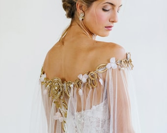 Blush, Gold Wedding Cape for Bride | Silk Tulle Bridal Shoulder Cape Veil |  Long Sheer Beaded Cover Up Stole With Lace Flowers | VERSAILLES