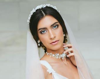 Juliet Cap Wedding Veil | Blush Pink Veil For Bride | Vintage Pearl Wedding Headpiece Veil | Silver, Crystal, Lace Bridal Hair Adornment