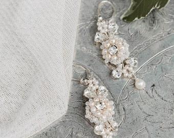 Wedding Earrings | Pearl Earrings | Bridal Earrings | Crystal Earrings | Pearl Wedding Jewelry | Drop Earrings | Dangle Earrings | Camellia