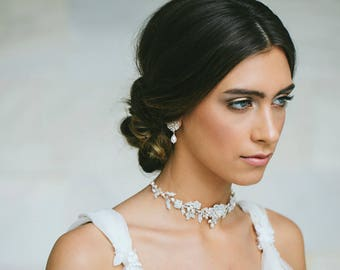 Pearl Wedding Choker Necklace | Backdrop Necklace for Bride | Wedding Jewelry | Silver Lace Choker Necklace | Bridal Jewelry | Siena