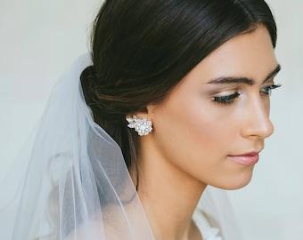 Pearl Crystal Wedding Stud Earrings | Vintage Style Climber Earrings for Bride | Silver Bridal Studs | Pearl & Crystal Wedding Jewelry